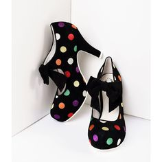 Lola Ramona Black Suede & Multicolor Dots Angie Pumps Shoes ($160) ❤ liked on Polyvore featuring shoes, pumps, high heel pumps, multi-color pumps, black pumps, platform pumps and high heel platform pumps