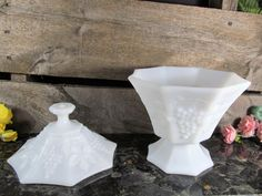 Vintage Milk Glass, Pedestal Compote With Lid,  Harvest Grape Pattern, by Anchor Hockings, Home, Office & Farmhouse Decor, Vintage Weddings by TheStorageChest on Etsy