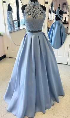 Custom Made Two Pieces Prom Dress,Halter Party Dress,Lace Prom Dress,high quality