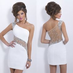 $ 95 ,2014 New Fashion Homecoming Dress White One shoulder Beading Crystal Sheath Short Cocktail Party Dress