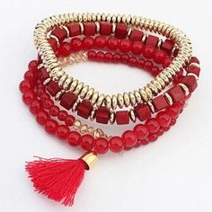 New Fashion Personalized Bohemian Ethnic Style Multilayer Beaded Tassel Elastic Charm Bracelets cuir Jewelry for Women Men