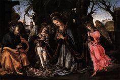 The Nativity with Two Angels by LIPPI, Filippino #art