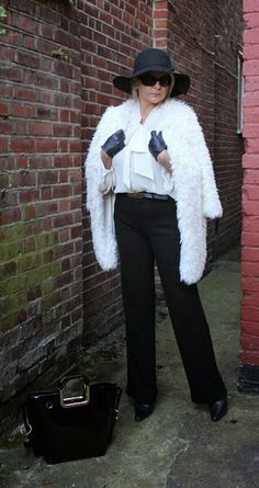 Fashion Adventures At Any Age : Black Hat and White Furry Coat