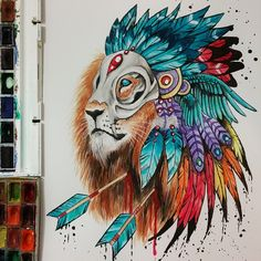 Image in art inspo collection by Sanna Hedberg Kunst Inspo, Art Inspo, Lion Drawing, Painting & Drawing, Fantasy Kunst, Fantasy Art, Animal Drawings, Cool Drawings, Amazing Drawings