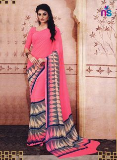This pretty piece is a fairy tale that begins to unfold as you reveal your beauty in it. Get the simplicity and grace with this hot pink georgette casual saree. This attire is encrafted with print wor. Cotton Sarees Online Shopping, Saree Shopping, Sarees Online India, Silk Sarees Online, Casual Saree, Cotton Silk, Printed Cotton, Yellow Fashion, Pink Saree