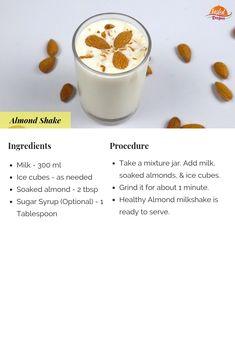 How To Make Almond Milkshake - Badam Milk Protein Shake Recipes, Milkshake Recipes, Smoothie Recipes, Healthy Juices, Healthy Drinks, Eating Healthy, Healthy Snacks, Clean Eating, Smoothies With Almond Milk