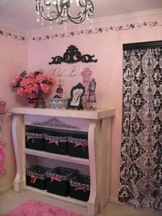 pink and black-shabby chic