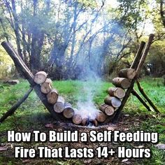 How To Build a Self Feeding Fire That Lasts 14+ Hours - This is an efficient way to build a fire that will burn continuously and does not require ANY maintenance. This is also an excellent method to utilize if you need the heat from a fire while you are sleeping, but do not want to wake up repeatedly during the night to add more wood. So clever!