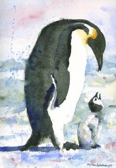 Penguin Parent, Watercolor Painting of baby bird i by Miriam Schulman
