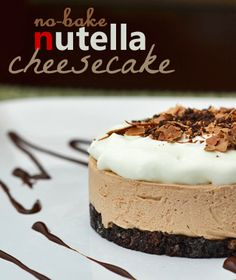 This is a simple No Bake Nutella Cheesecake Recipe. If you love Nutella and you love cheesecake, you MUST try this simple easy recipe everyone will love!