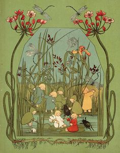 'Van de wortelkindertjes / The Story of the Root Children' by Sybille von Olfers, translated from the German by Alfred Listal. Published 1920 by Gebr. Kluitman, Alkmaar.  Description: A children's book about the Root Children who sleep underground during winter until Mother Nature wakes them up in springtime.
