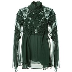 Chloé Forest Green Muslin Silk Top (€2.215) ❤ liked on Polyvore featuring tops, ruched tops, long sleeve silk top, green top, shirred top and green silk top