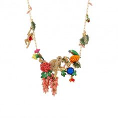 Scene from a tropical garden couture necklace
