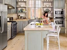 gray washed cabinetry - Simple Pleasing L Shaped Kitchen with Island