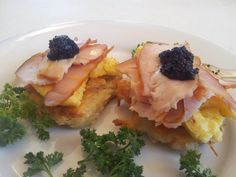 Grated potato pancakes with scrambled eggs, pulled smoked sturgeon and Acadian caviar!