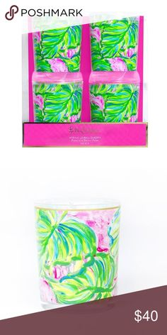 Lilly Pulitzer • Painted Palm • Lo-Ball Glass Set Spring 2017 collection. Set of 4. Acrylic with gold accents. Lilly Pulitzer Accessories