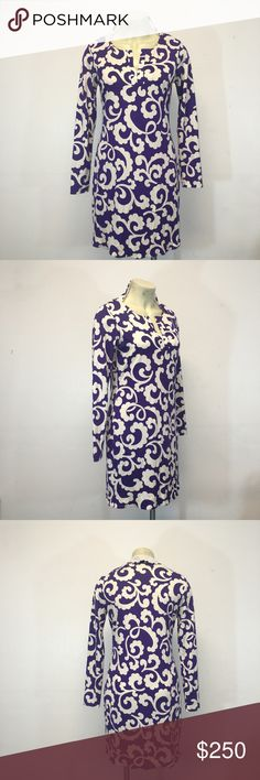Diane Von Furstenburg top purple white Sz 10 This top is in excellent condition. Guaranteed authentic item and a must have item! We are unable to take sales to PP. Willing to negotiate using the offer button. No trades. Happy Poshing! Diane von Furstenberg Tops