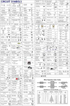 schematic symbols chart electric circuit symbols a Home Electrical Wiring, Electrical Symbols, Electrical Projects, Electrical Diagram, Electrical Grid, Electronics Components, Electronics Projects, Ingenieur Humor, Electric Circuit