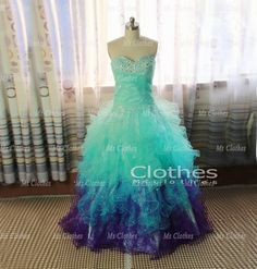 Custom Made Ball Gown Sweetheart Neckline Green / Purple Prom Dresses, Prom Dress 2014, Dress For Prom, Formal Dresses 2014, Wedding Dresses on Etsy, $268.99