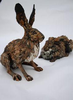 Life Size Hare 3—cool mottled finish detailing—love this artist's design style & earthy glazes❣ Joe Lawrence • Flickr