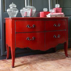 Doing my living room & dinning room in red & black . Red Painted Furniture, Chalk Paint Furniture, French Furniture, Find Furniture, Accent Furniture, Furniture Makeover, Bedroom Furniture, Red Dresser, Dresser As Nightstand