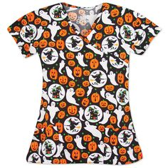 """Keep calm and carry a wand with this """"GHOSTLY MANOR"""" Halloween printed scrub top! It features friendly ghosts, pumpkins, and nice witches on a black background. It was designed with three front patch pockets and has set-in sleeves. Pair with your favorite black scrub pants to complete the look! Halloween Scrubs, Halloween Prints, Cute Halloween, Black Scrubs, Scrub Pants, Scrub Tops, Collar And Cuff, Ghosts, V Neck Tops"""