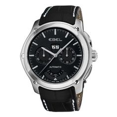 Ebel Men's 9305F71/5335145GS Classic Hexagon Chronograph Black Chronograph Dial Watch Ebel. $2364.99. Black leather strap. Water-resistant to 165 feet (50 M). Black chronograph dial. Automatic movement. Deployment clasp. Save 57% Off!