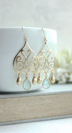 Aqua Blue Gold Moroccan, Boho Filigree Aqua Blue Crackled Glass Drops Chandelier Earring. Aqua Blue and Gold Wedding by Marolsha.