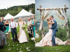 real wedding: kati + matt    two-piece blush wedding gown by Tara LaTour   anna bé denver   Steamboat Springs, Colorado   Brinton Studios Photography   anna bé bride
