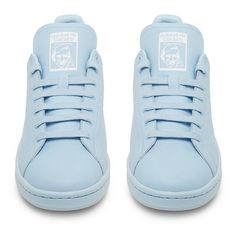 Raf Simons X Adidas Originals Stan Smith Sky Blue Low Top Sneaker featuring polyvore, fashion, shoes, sneakers, clothing, adidas trainers, adidas sneakers, low tops, sky blue shoes and adidas footwear