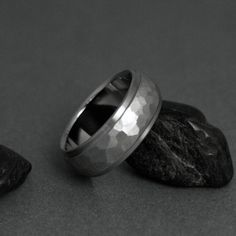 Titanium Hand Ground Ring - Domed Profile - Stepped Down Edges  BRAND NEW DESIGN!! -- For when Robert inevitably loses wedding band #2.