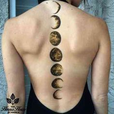Moon Phases Back Tattoo Spine Tattoos, Back Tattoos, Future Tattoos, Body Art Tattoos, New Tattoos, Cool Tattoos, Tatoos, Chest Tattoo, Sleeve Tattoos