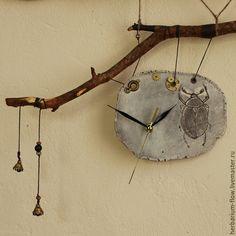 Ceramic clock / Часы для дома ручной работы. Ярмарка Мастеров - ручная работа. Купить часы с жуком. Handmade. Часы, колокольчики, лес