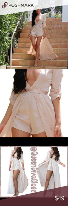 Satin champagne pink peach short romper dress Have all eyes on you in this one of a kind sexy jumpsuit maxi dress! Features a lovely apricot hue, belted waist tie, long sleeves that can convert to 3/4 sleeves, low cut v neck, rear zip closure, and a rear high low train. Brand new from factory. Size L will fit up to a 10 comfortably. Dresses Maxi