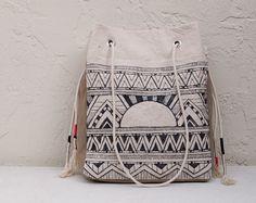 Tribal Tote Black & White Canvas Shopper Bag Purse Geometric Pattern Aztec Art - by Chapman at Sea