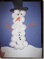 Cottonball snowman craft.
