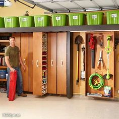This storage system is made mostly from garage wire shelving and melamine shelf board. It's a simple DIY project for more garage storage. Garage Ceiling Storage, Garage Storage Solutions, Diy Garage Storage, Garage Shelving, Garage Walls, Basement Storage, Garage Cabinets, Garage Organization, Shop Storage