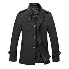 Sale 22% (65.99$) - Mens Stand Collar Jacket Fashion Casual Slim Wool Blend Solid Color Single-breasted Business Coat