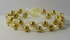 Gold Glass Pearl bead bracelet. Craft ideas from LC.Pandahall.com