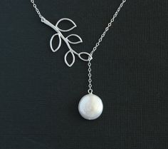 Lariat pearl necklace branch leaf necklace Sterling by untie, $30.00