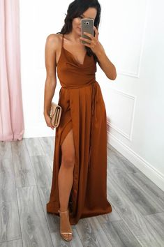 PRE-ORDER: Estimated dispatch date May or before. Approx length: True to size Polyester Measures cm from shoulder to hem Colour: Rust Care: Hand was only - Iron inside out on low heat Model is wearing size 8 Model is height Burnt Orange Bridesmaid Dresses, Burnt Orange Dress, Wedding Bridesmaid Dresses, Bridesmaid Color, Orange Prom Dresses, Burnt Orange Weddings, Wedding Gowns, Oh Hello Clothing, Burn Dressing