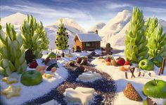 Carl Warner directs 4 TVC's featuring scenes created out of ingredients for Edible Arrangements U. Landscape Art, Landscape Photography, Food Photography, Carl Warner, Veggie Art, Veggie Tales, Food Sculpture, Edible Arrangements, Environment Concept