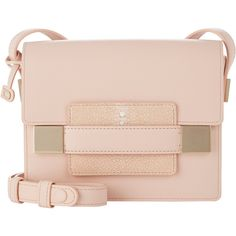 Delvaux Women's Madame Mini Shoulder Bag ($4,000) ❤ liked on Polyvore featuring bags, handbags, shoulder bags, nude, leather purses, shoulder strap bags, pink shoulder bag, genuine leather shoulder bag and mini purse