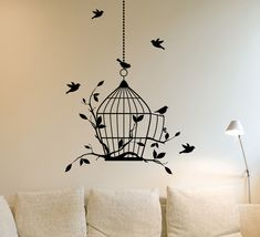 Birdcage and Birds Wall Sticker Kitchen Art Decal Home Feature Wall - Custom Made Any colours & size