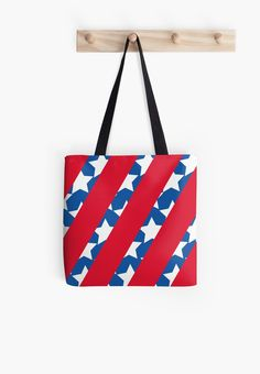 Red Stripes with Blue and Stars american flag tote bag
