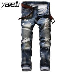 26.56$  Watch here - http://ali444.shopchina.info/go.php?t=32798951079 - #2787 Slim fit Ripped jeans for men Fashion Biker jeans Famous brand Pleated Punk Distressed Hip hop jeans men Pantalon homme  #aliexpress