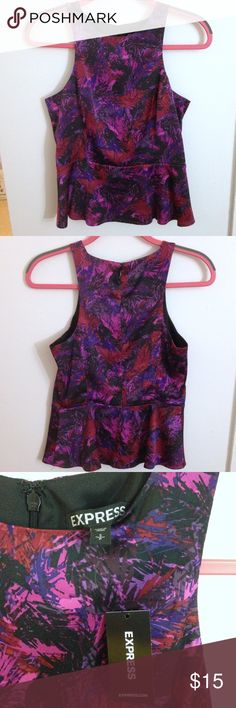 NWT Express Peplum Top size small NWT Express Peplum Top size Small. Zippered back with hook closure. Bundle 2 or more listings for 20% off and combined shipping! Sorry, no trades. Express Tops Tank Tops