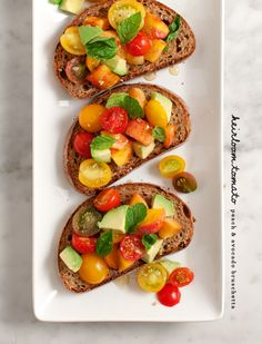 tomato, peach and avocado bruschetta / loveandlemons.com