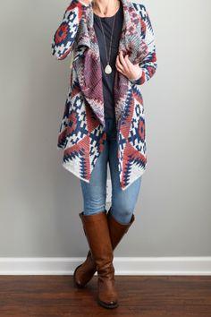 ***Love this, RD Style Tawny Open Drape Cardigan --- StitchFix Cardigan Tribal, Drape Cardigan, Big Cardigan, Fall Winter Outfits, Autumn Winter Fashion, Fix Clothing, Stitch Fix Fall, Vogue, Stitch Fix Stylist