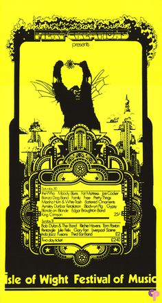 Isle of Wight, England 8/30/69: Bob Dylan and Lots More Art Poster, Artist Unknown